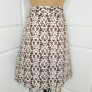 Merona Brown Print Front Pleated Skirt Size 16